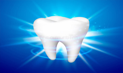 Illustration of a white dental tooth against a blue background, depicting an ozone therapy procedure.